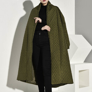 Image 3 - LANMREM  PLaided Cotton padded New Green Color Coat Long Sleeve Loose Fit Women Parkas Fashion Tide New Autumn Winter 2020