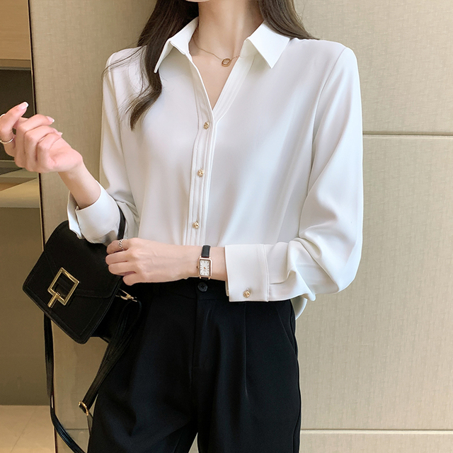 Spring Loose Temperament Vertical Sense Blouse Metal Buttons Fashion Women's Long-sleeved White High-end Satin Chiffon Shirt 2