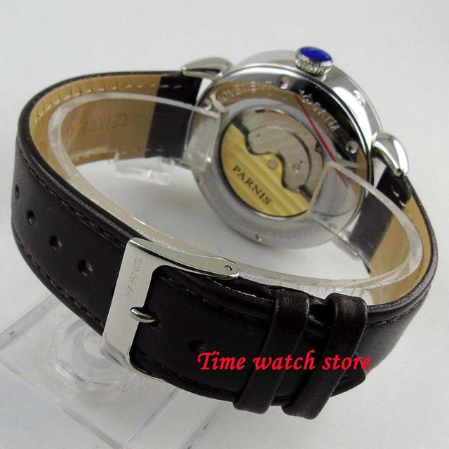 42mm Parnis mechanical watch men stainless steel waterproof leather bracelet DATE Power reserve yellow dial Auto wrist1303
