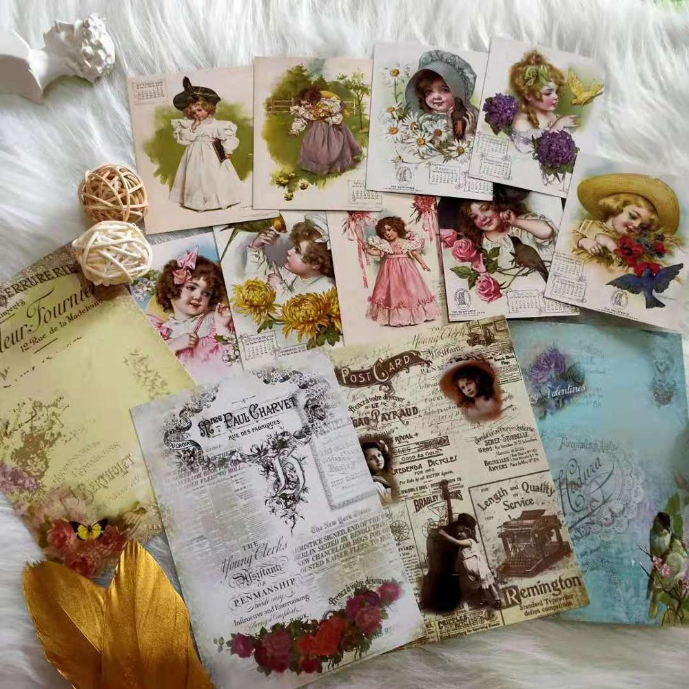 13 PCS Cute Victorian Girl Junk Journal Retro Background Material Sticker Diy Ablum Diary Scrapbooking Label Stickers Stationery