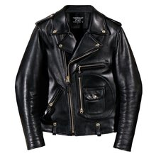 2020 Free shipping.Italy Luxury Batik cowhide jacket,motor biker style leather jackets,J24 Man vintage genuine leather coat,(China)