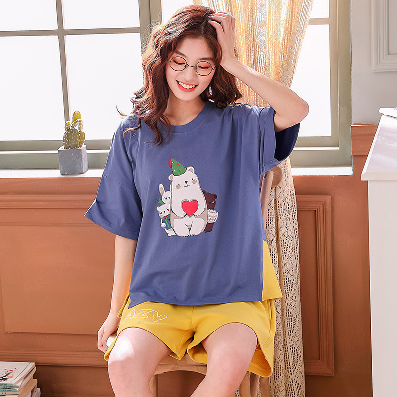 X1909 # Christmas Care Bear Pullover LZ Short Sleeve Shorts Pajamas Homewear Set Series