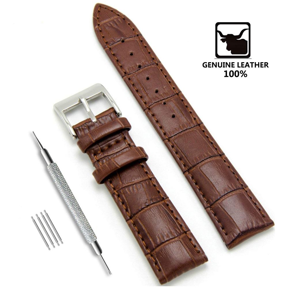 Genuine Leather Watchbands 12/14/16/18/19/20/22/24 Mm Watch Steel Pin Buckle Band Strap High Quality Wrist Belt Bracelet + Tool