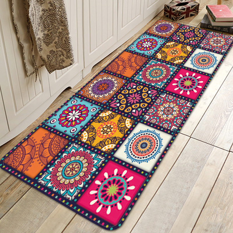 LANGRIA Bohemian Style Floral Pattern Rug Carpet Mat For Bathroom Living Room Home Textile Home Decor W60 X L180cm