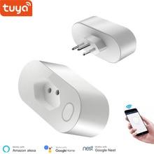 Alexa uyumlu WiFi soketi brezilya standart 16A akıllı çıkış Tuya App kumandalı monitörü zamanlayıcı ses kontrolü