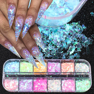 12 Grids 3D Flakes Fluorescent Nail Sequins Sparkly Paillette Nail Chunky Glitter Decorations Chameleon Nail Accessory LASP