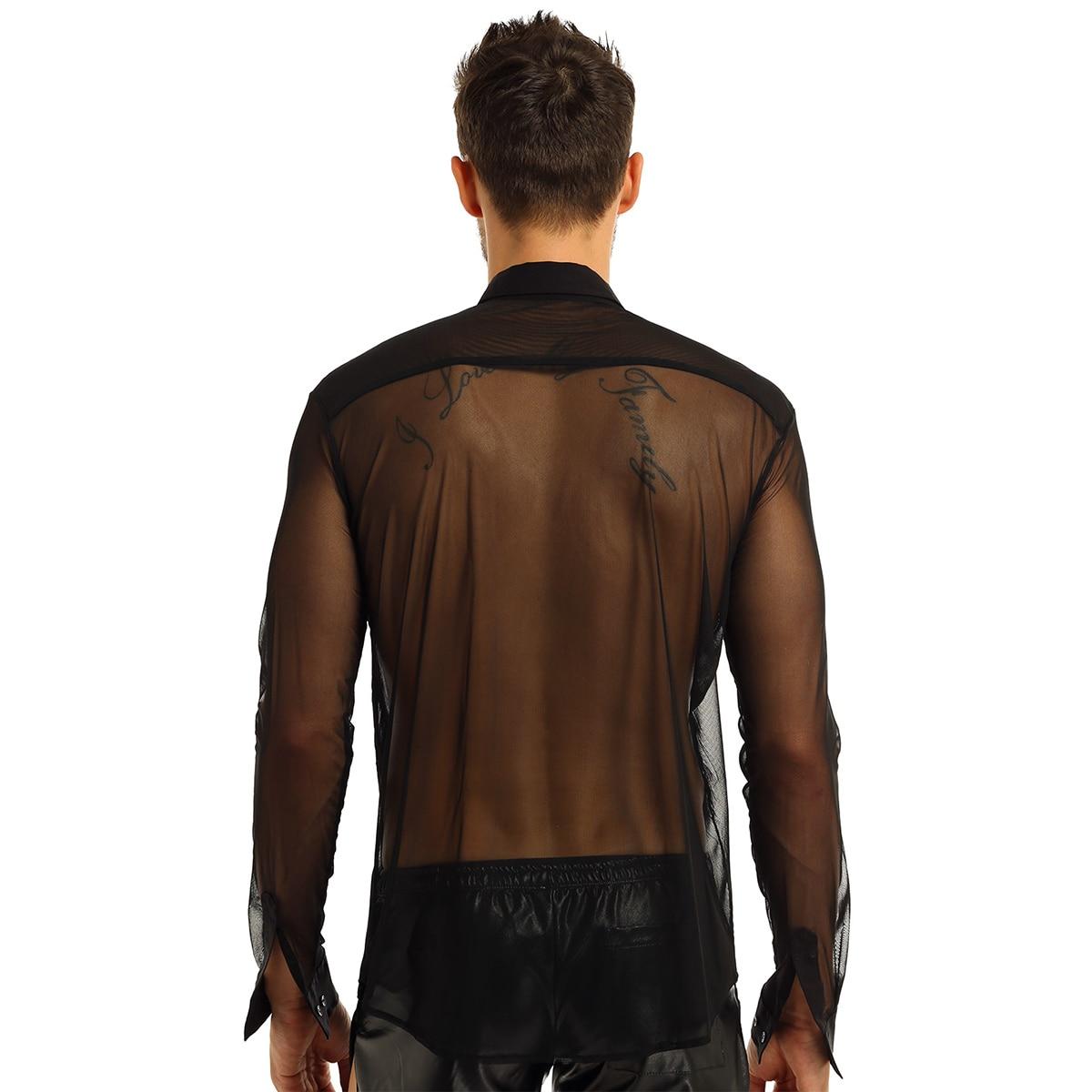 Image 4 - iiniim Mens Fashion See Through Mesh Long Sleeve Clubwear Turn down Collar Top Shirt for Club Evening Party WetLook Shirtsf shirtsfashion shirtsee through shirts -