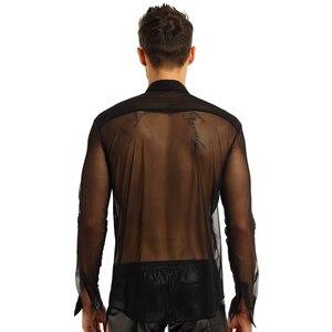 Image 4 - iiniim Mens Fashion See Through Mesh Long Sleeve Clubwear Turn down Collar Top Shirt for Club Evening Party WetLook Shirts