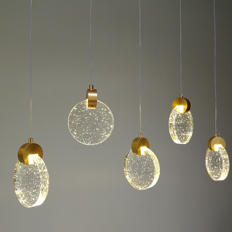 Simple Creative Led Crystal Hanglamp Modern Personality Bar Glass Pendant Lights Restaurant Dining Room Kitchen Hanging Lamps