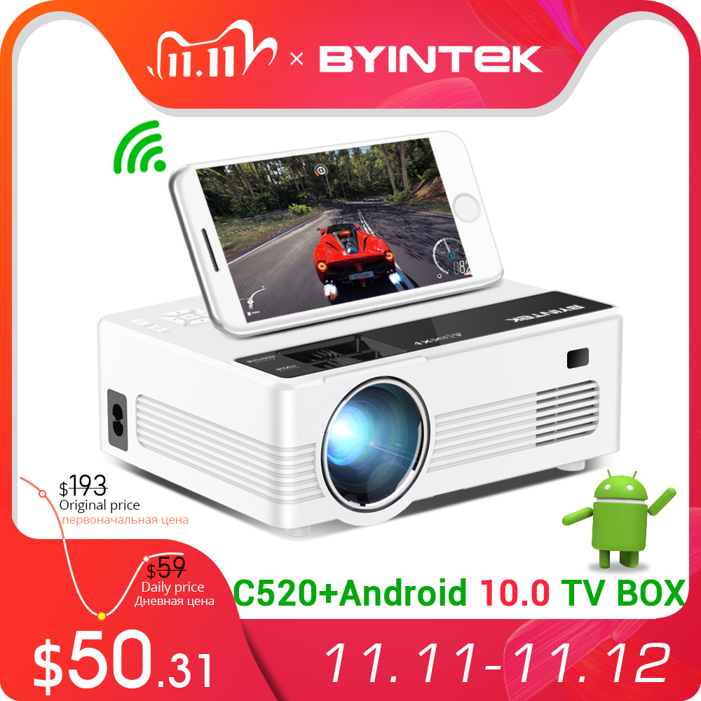 BYINTEK C520 Mini HD Projector Optional Android 10 TV Box 150inch Home TheaterPortable LED Proyector for Phone 1080P 3D 4K