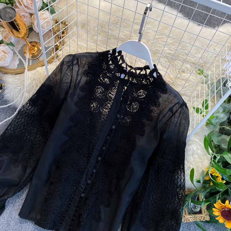 White Black Long Lantern Sleeve Lace Hollow Out Stand Collar Blouse Shirt 5