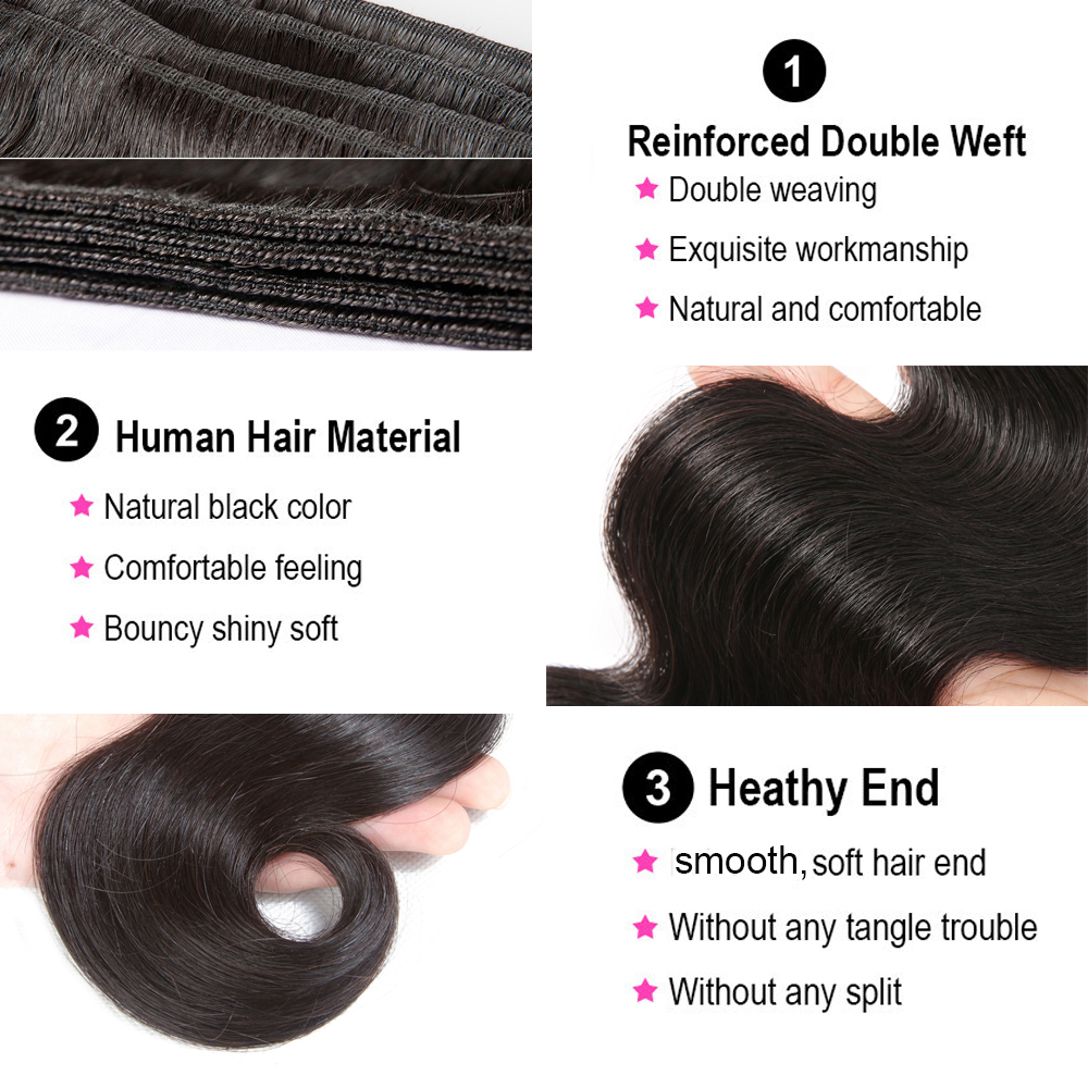 Body Wave Bundles With Closure Brazilian Hair Weave Bundles 5x5 6x6 Closure With Bundles Remy Human Hair Bundles With Closure