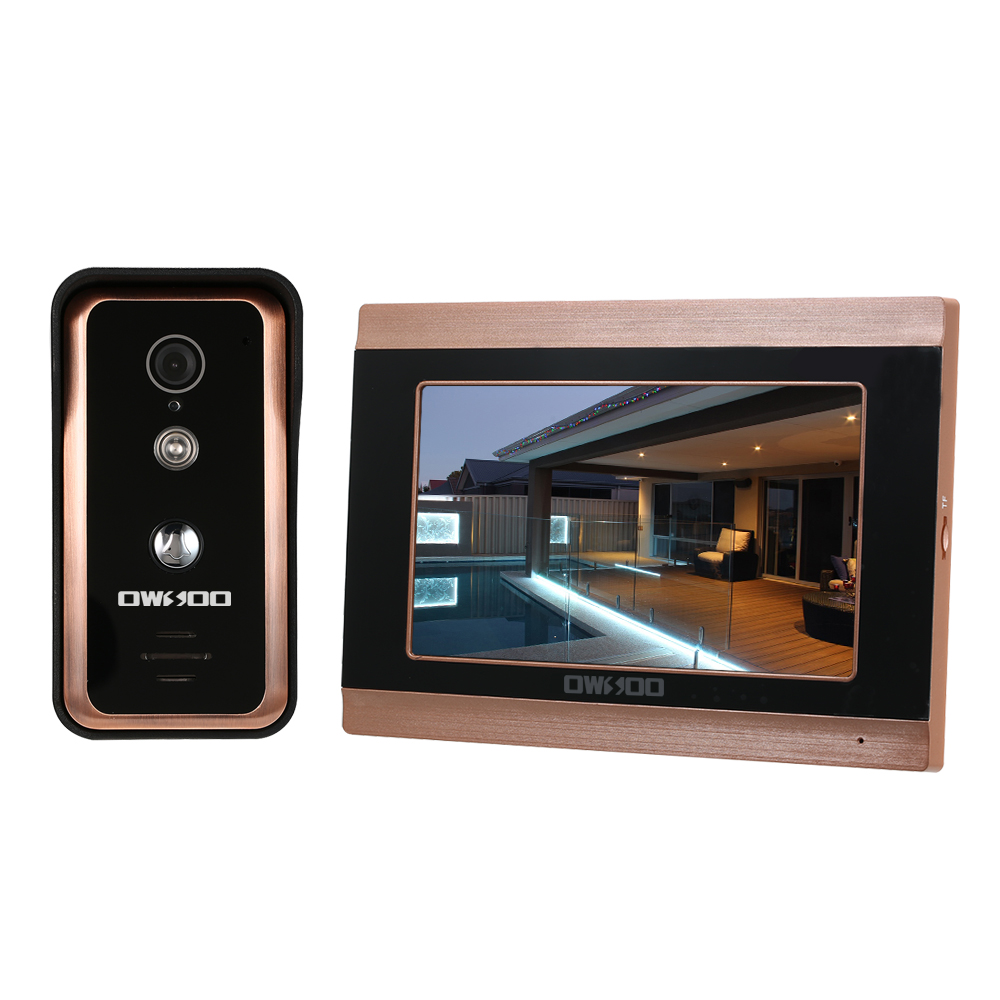OWSOO 7inch Monitor Wired WIFI Video Door Phone Doorbell Intercom Entry System Support Night Vision Phone APP Remote Intercom