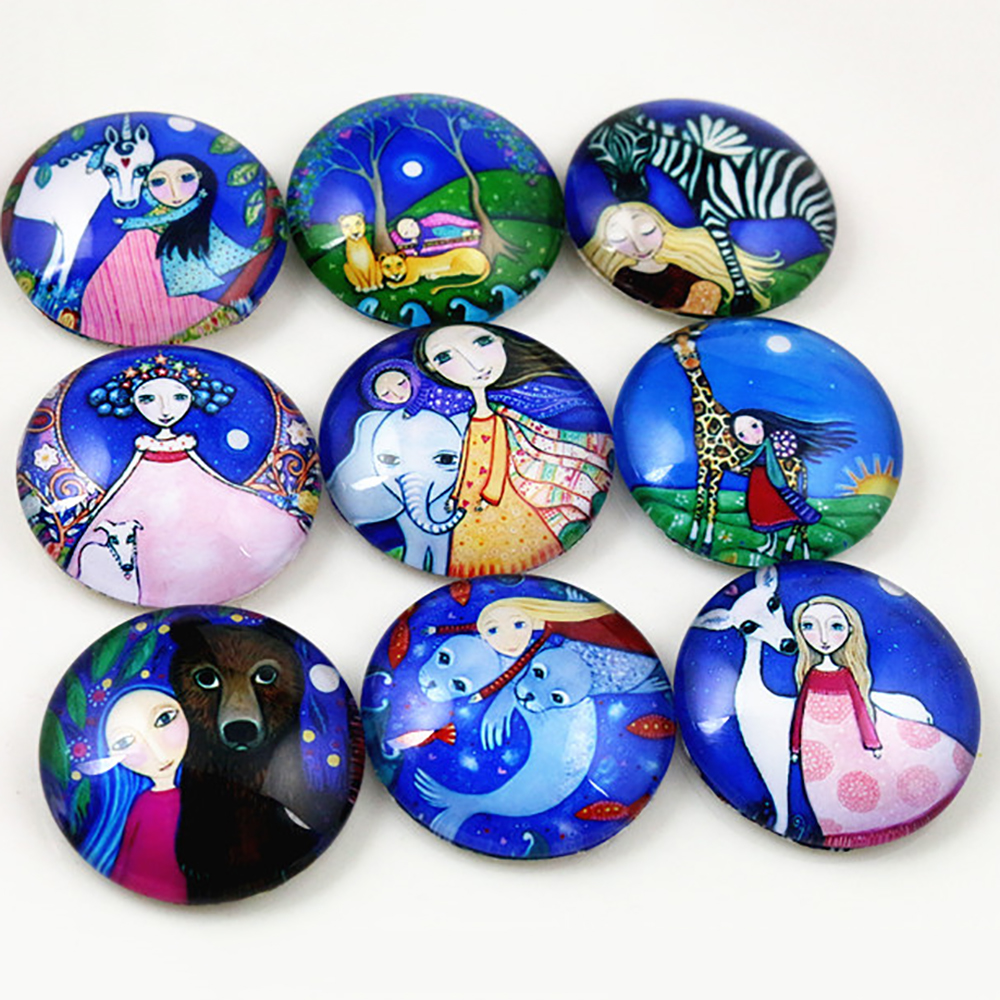 Hot Sale 10pcs 25mm Mixed Handmade Photo Glass Cabochons  (I7-30)