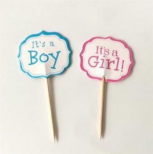 Image 4 - 12/18/20 stücke Baby Dusche Cupcake Topper Junge Mädchen Taufe Blau Geburtstag Party Dekorationen Kinder Festliche Ereignis Partei Liefert