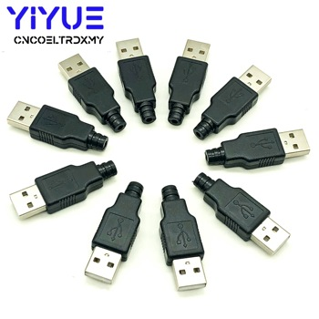 цена на 10pcs Type A Male USB 4 Pin Plug Socket Connector With Black Plastic Cover