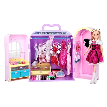 [Funny] Fashion princess wardrobe doll dream chest toy Play house doll Clothes shoes toys More than 30 kinds of accessories gift