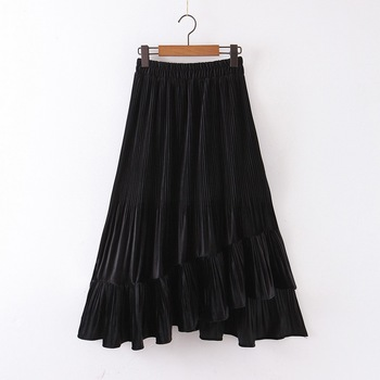 Chic Women Pleated Skirt Spring 2020 New Fashion Cascading Ruffles Black Bottom Modern Lady Mid-Calf Skirts 1