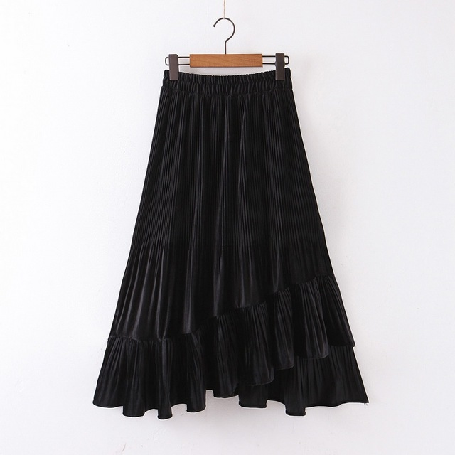 Chic Women Pleated Skirt Spring 2020 New Fashion Cascading Ruffles Black Bottom Modern Lady Mid-Calf Skirts 1