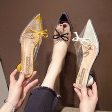 High Heels Slides Slippers Woman Pointed Toe Footwear Transparent Pvc Shoes Female Mules Shoes Women Summer calzado mujer