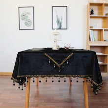 Modern European Luxury Solid Black Round Rectangular Tablecloth Tassels Dining Table Tea Table Cover Party Wedding Decoration