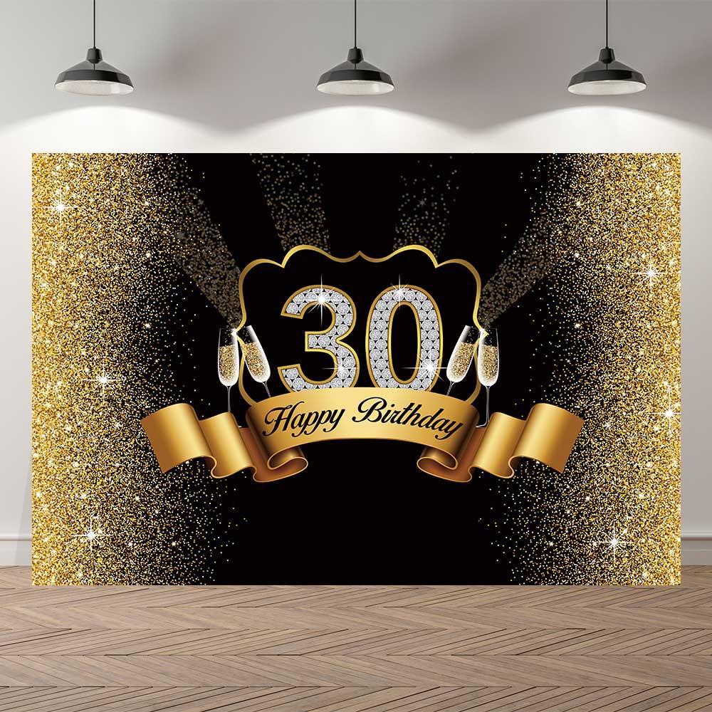 NeoBack Королевский золотой черный 30th День рождения принадлежности фон баннер для фотосессии Юбилей украшения фон для фотосъемки
