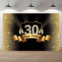 NeoBack Royal Golden Black 30th Birthday Party Supplies Background Photocall Banner Anniversary Decoration Photography Backdrop