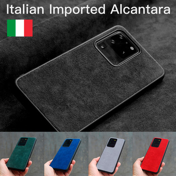 YMW Italian Alcantara Case for Samsung Galaxy S20 Ultra S10 9 8 20+ Note20 10 Plus 5G Luxury Artificial Leather Phone Cases
