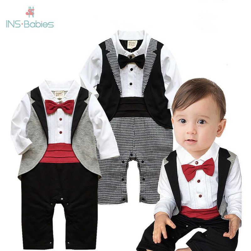 Newborn Toddler Baby Boys Gentleman Bowtie Swallowtail Romper Jumpsuit Clother