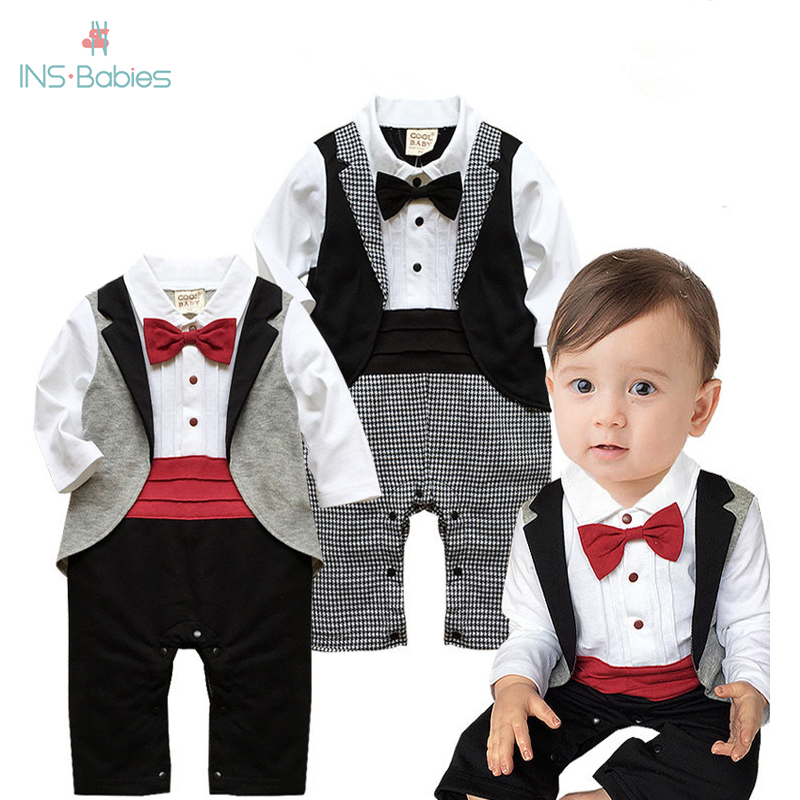 2020 New Baby Boys Clothes In Spring And Autumn Baby Pure Cotton Romper Gentleman Bow Tie Piece Jumper Long Sleeve Baby Clothing