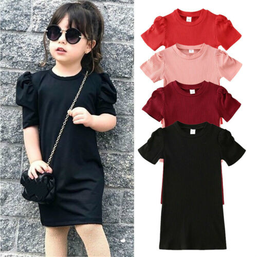 4 Colors Toddler Kid Baby Girl Dress Puff Short Sleeve Solid Straight Casual Knitted Dresses Tops Outfits1-6 Year