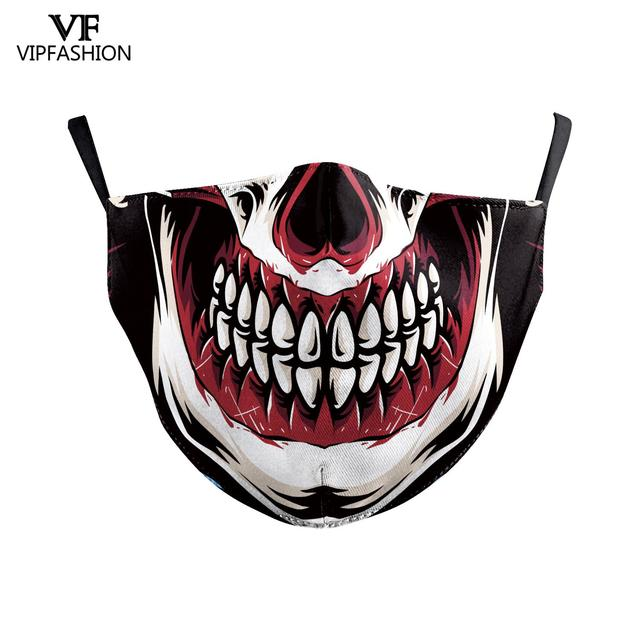 VIP FASHION Funny Big Mouth Print Grimace Ghost Skeleton Face Mask Washable Fabric Reusable Breathable Party Mask 4