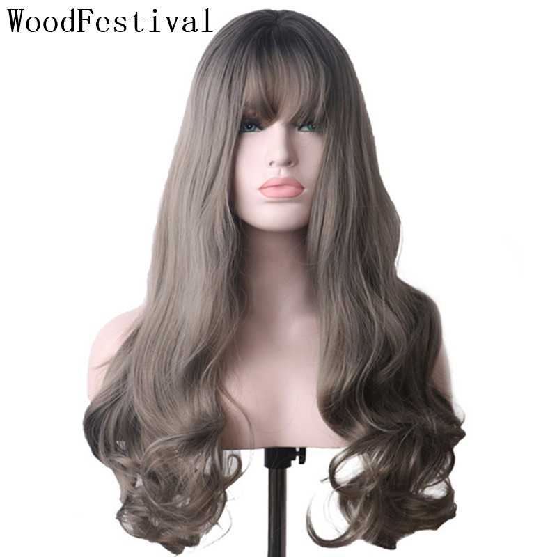 WoodFestival Synthetic Hair Long Scalp Wavy Black To Grey Ombre Wigs With Bangs Heat Resistant Cosplay Wigs For Women
