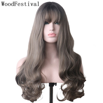 цена на WoodFestival Synthetic Hair Long Scalp Wavy Black to Grey Ombre Wigs with bangs Heat Resistant Cosplay Wigs for Women