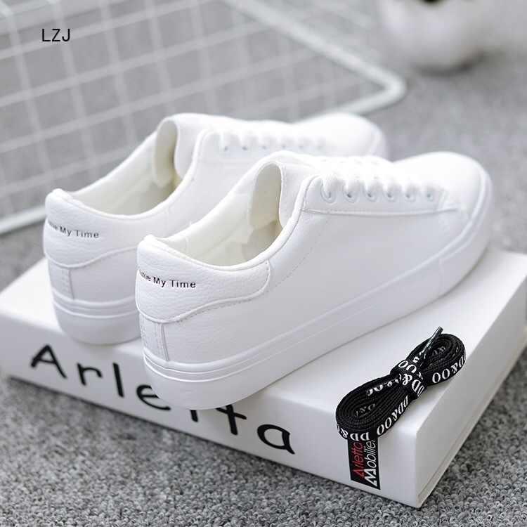 LZJ รองเท้าผ้าใบผู้หญิง 2019 แฟชั่น Breathable Vulcanized รองเท้าผู้หญิง PU หนังรองเท้าผู้หญิง Lace Up รองเท้าสีขาว