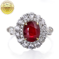 10K Gold ring Lab Created 1.5ct Ruby and Moissanite Diamond Ring With national certificate Ru 0014
