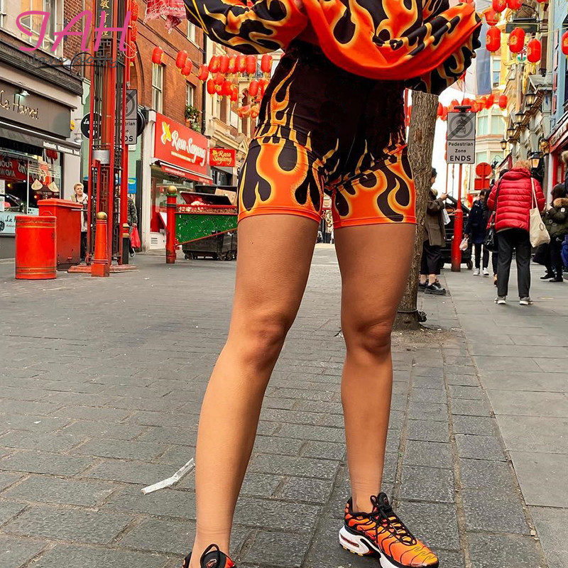 IAMHOTTY Flaming Fire Print Black Spandex Shorts High Waist Bodycon Stretch Woman Shorts Gothic Harajuku Fashion New Biker Short