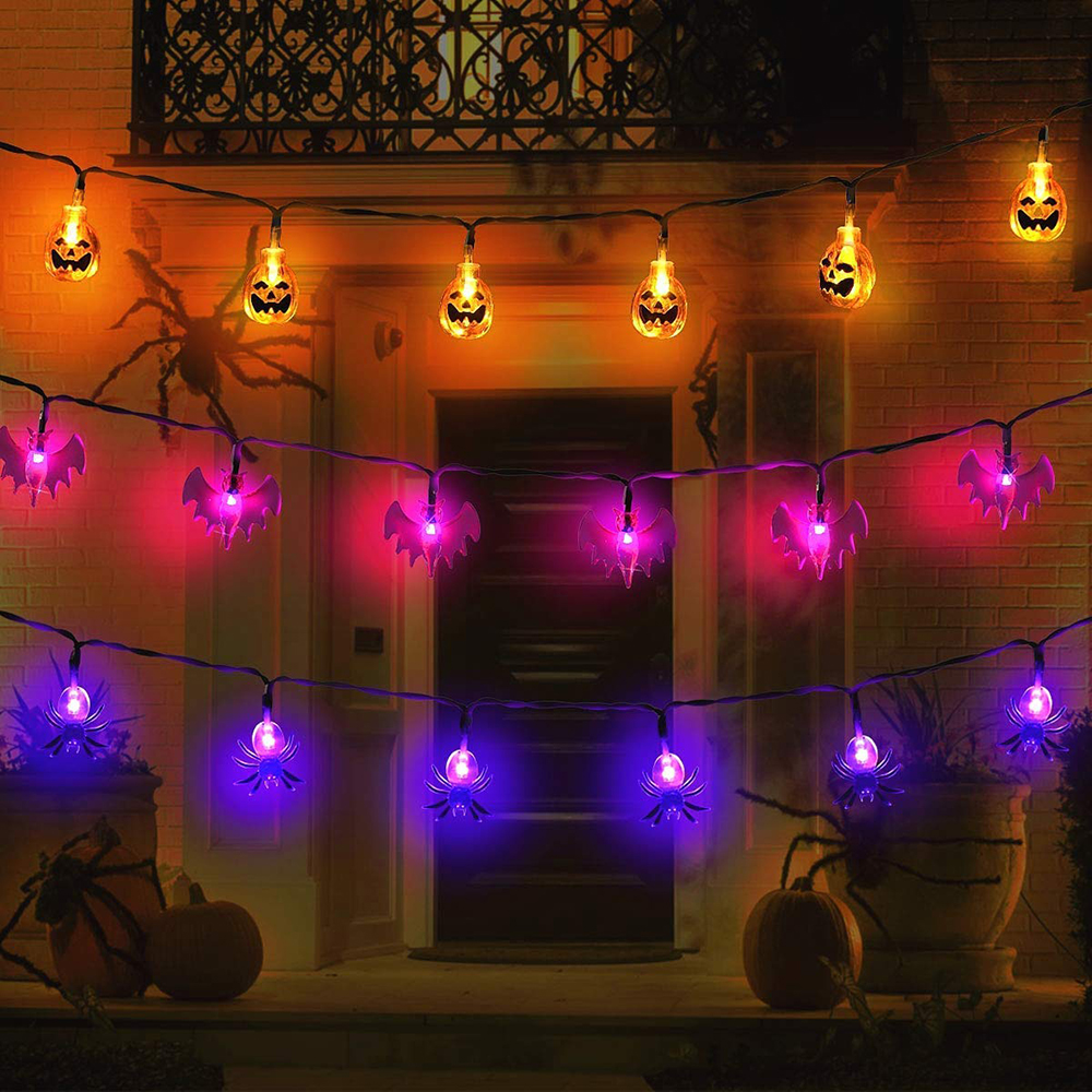 Outdoor Halloween Decorations Lights 10/20 LED Pumpkin Spider Bat Skull String Light Battery Operated For Indoor Halloween Party