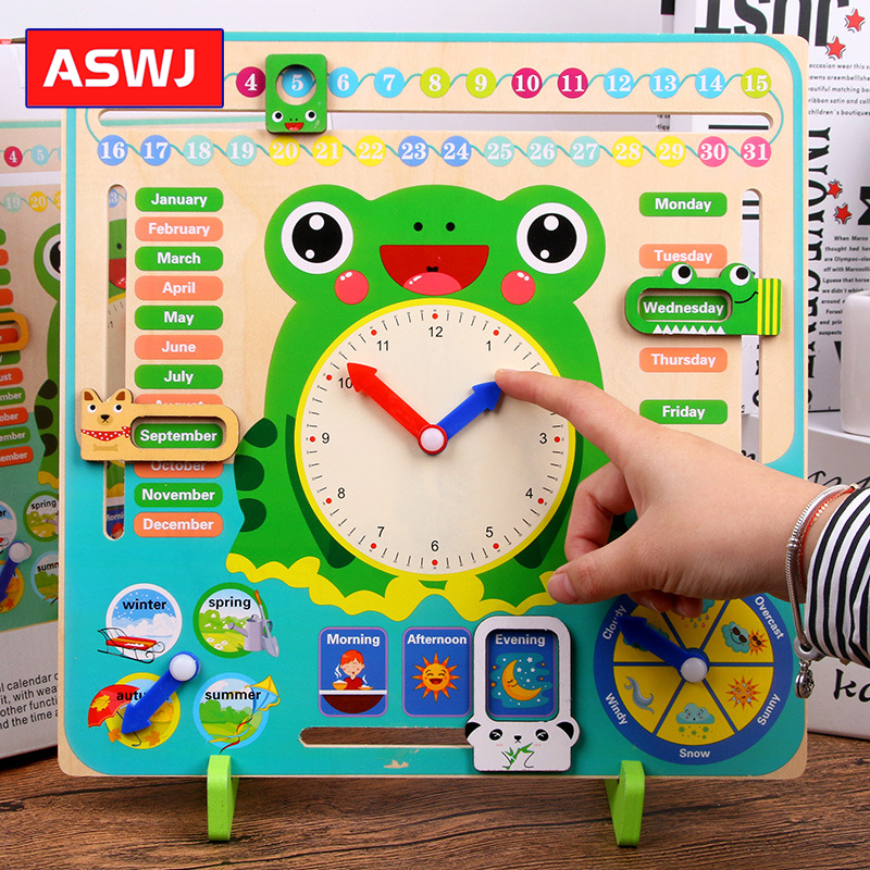 QWZ Wooden Toys Baby Weather Season Calendar Clock Time Cognition Puzzle Preschool Educational Teaching Aids Toys For Kids Gifts