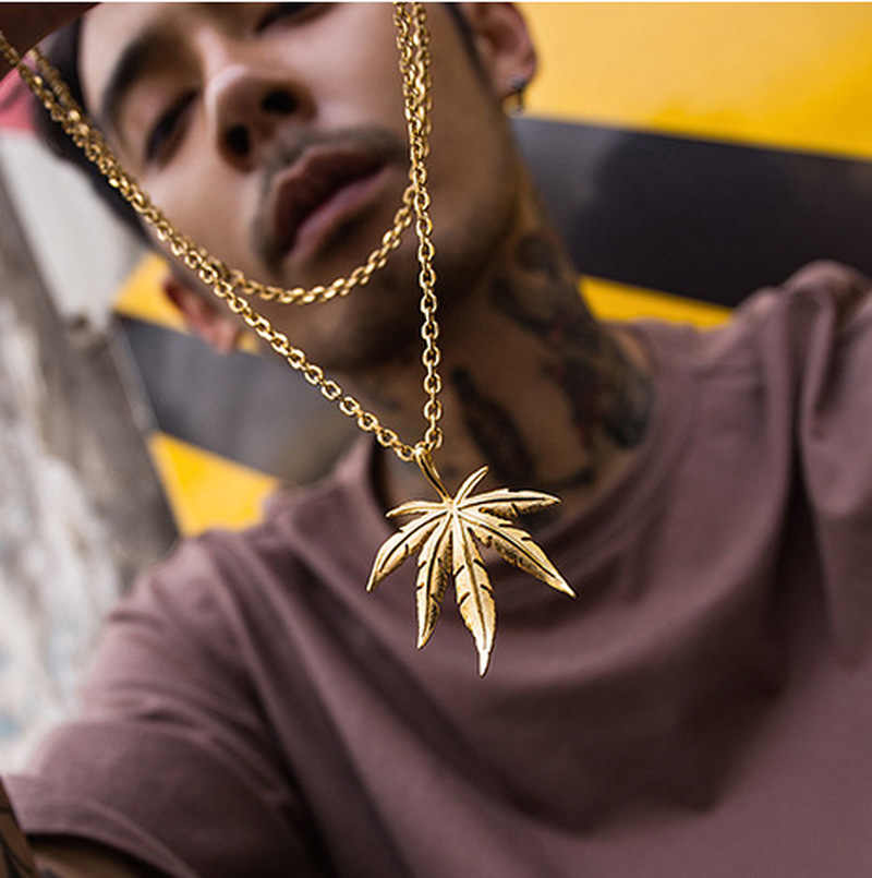 1PCs Unisex Hip Hop Maple Leaf Necklace for Women Men Small Tobacco Herb Tree Leaf Pendants Necklaces Plant Jewelry Accessories