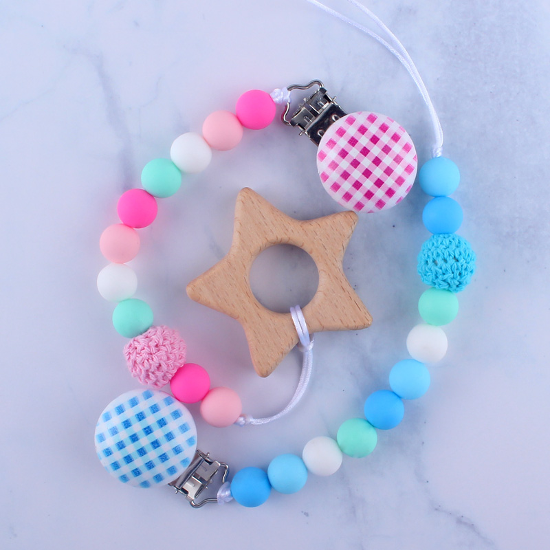 Newest Newborn Baby Boy Girl Pacifier Holder Pink Blue Candy Color Crochet Beads Teething Chain