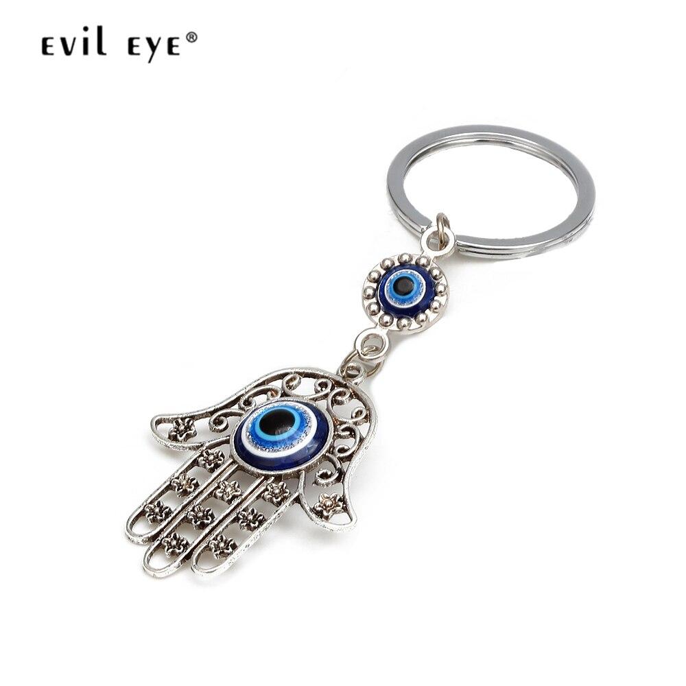 EVIL EYE Hollow Hamsa Keychain Silver Color Keyring Hand Fatima Turkish Eye Charm Key Chain Fashion Jewelry For Women Men EY6493