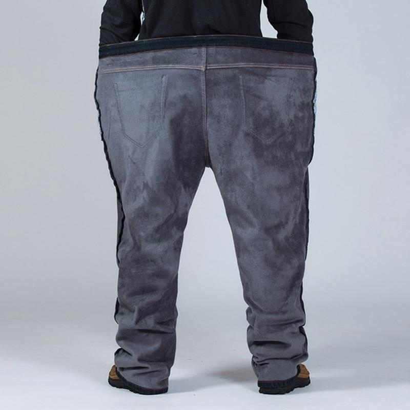 Image 3 - Winter plus size plus velvet thick jeans men fat people loose  increase big size warm pants 52 50 48 high waist male large sizeJeans