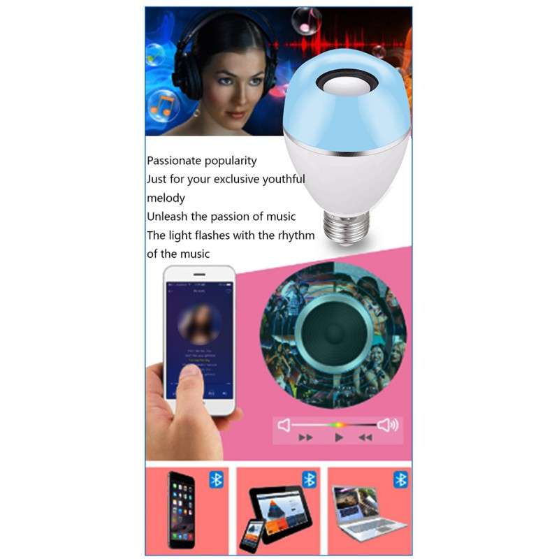 LED Wireless Light Speaker RGB Smart Music Bulb E26 Base Color Changing With Remote Control Decorations - 6