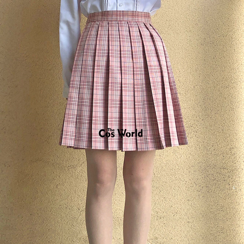 [Lotus Pink] Girl's Summer High Waist Pleated Skirts Plaid Skirts Women Dress For JK School Uniform Students Cloths