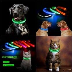 Animal de estimação colar led luz coleira de cão noite segurança anti-acidente de carro perdido evitar flash pet colar preto colarinho gato e cão luminoso