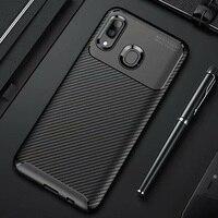 Funda de fibra de carbono para Samsung Galaxy A20e, A20, A30, A40, A prueba de golpes, parachoques mate