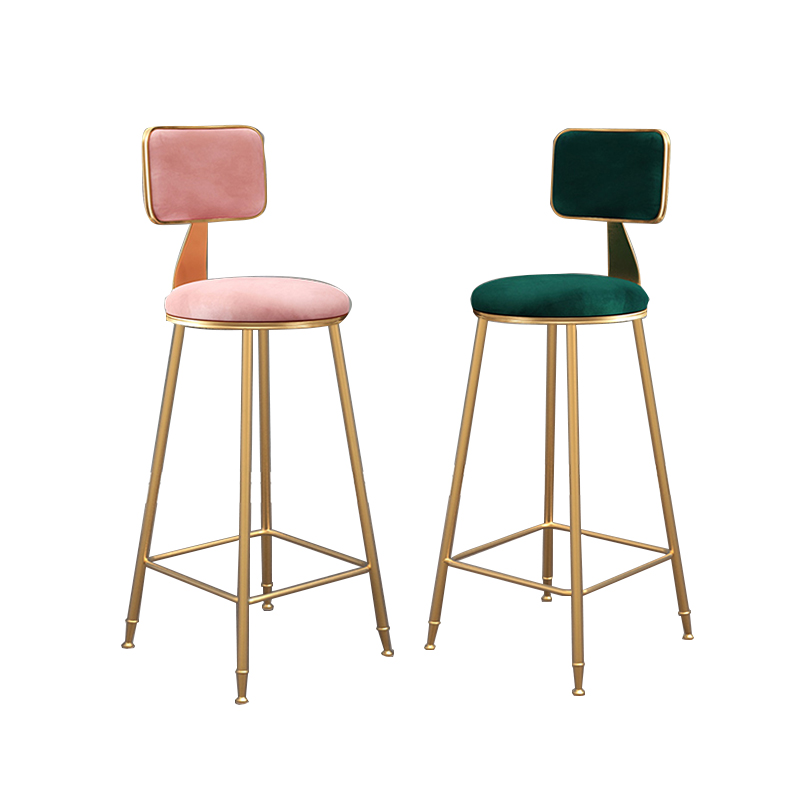 Nordic Light Luxury Bar Chair Simple Bar Stool Front Coffee Restaurant Leisure Back High Stool