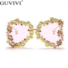 特大パンクサングラス女性 2020 高級金属花のファッションサングラス男性バロック真珠サングラスUV400 oculos feminino
