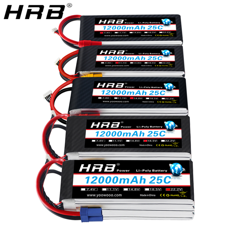 HRB Lipo Battery 12000mah 7.4V 11.1V T Deans XT60 XT90 EC5 14.8V 18.5V 22.2V 2S 3S 4S 5S 6S 1S RC FPV Helicopter Airplane Parts image